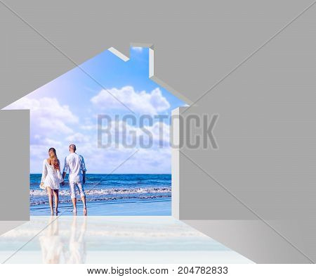 Indoor house through which you see a married couple on the beach - 3d illustrator
