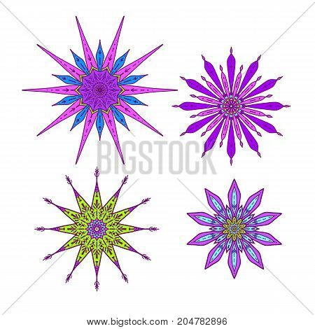 Stars in decorative style. Stock line vector illustration. This illustration can be used as a print on T-shirts, bags, tattoo, badges or patch