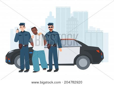 Two policemen in uniform standing near police car with caught criminal against city buildings on background. Arrested thief escorted by pair of cops. Cartoon characters. Colorful vector illustration