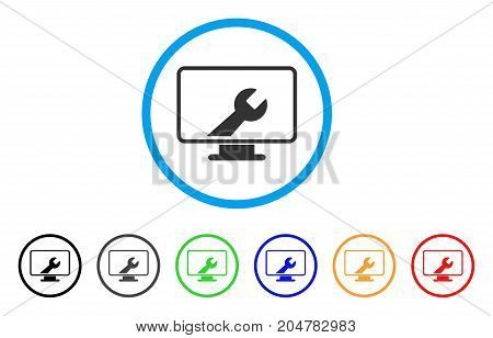Desktop Options rounded icon. Style is a flat desktop options grey symbol inside light blue circle with black, gray, green, blue, red, orange color versions.