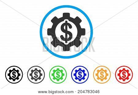 Development Cost rounded icon. Style is a flat development cost gray symbol inside light blue circle with black, gray, green, blue, red, orange variants.