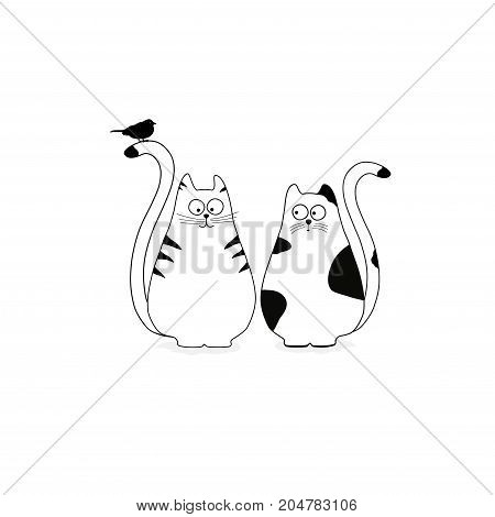Cute stylized cats with bird on white background