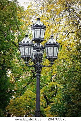 Old-style Lamp Post At The Park In Autumn
