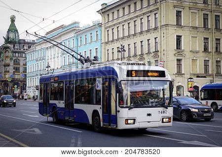 Traffic On Street In Saint Petersburg, Russia