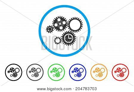 Gear Mechanism rounded icon. Style is a flat gear mechanism grey symbol inside light blue circle with black, gray, green, blue, red, orange variants. Vector designed for web and software interfaces.