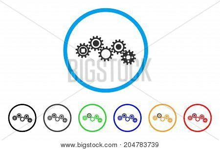 Gear Mechanism rounded icon. Style is a flat gear mechanism gray symbol inside light blue circle with black, gray, green, blue, red, orange variants. Vector designed for web and software interfaces.