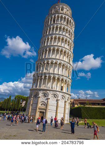 The famous tower of Pisa - important landmark in Tuscany - PISA TUSCANY ITALY - SEPTEMBER 13, 2017