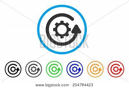 Gearwheel Rotation Direction rounded icon. Style is a flat gearwheel rotation direction gray symbol inside light blue circle with black, gray, green, blue, red, orange variants.