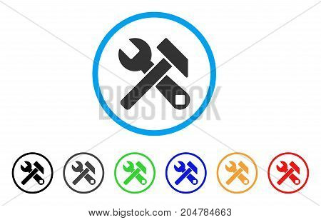 Hammer And Wrench rounded icon. Style is a flat hammer and wrench gray symbol inside light blue circle with black, gray, green, blue, red, orange color versions.