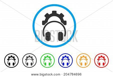 Headphones Configuration Gear rounded icon. Style is a flat headphones configuration gear gray symbol inside light blue circle with black, gray, green, blue, red, orange color versions.