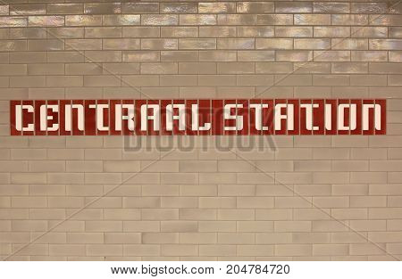 Great Writing Of The Central Railway Station In Amsterdam City I