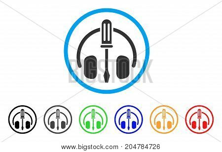 Headphones Tuning Screwdriver rounded icon. Style is a flat headphones tuning screwdriver gray symbol inside light blue circle with black, gray, green, blue, red, orange versions.