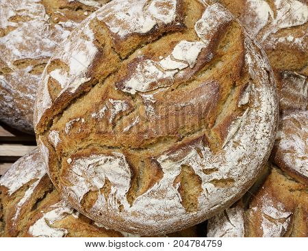 Loaf Of Bread Made With Whole Wheat Flour For Sale In The Baker