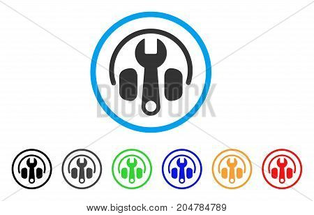 Headphones Tuning Wrench rounded icon. Style is a flat headphones tuning wrench grey symbol inside light blue circle with black, gray, green, blue, red, orange versions.
