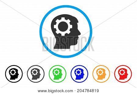 Intellect Gear rounded icon. Style is a flat intellect gear gray symbol inside light blue circle with black, gray, green, blue, red, orange versions. Vector designed for web and software interfaces.