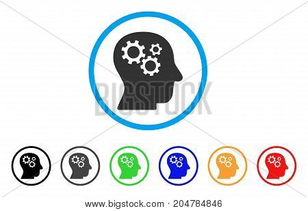 Intellect Gears rounded icon. Style is a flat intellect gears gray symbol inside light blue circle with black, gray, green, blue, red, orange versions. Vector designed for web and software interfaces.