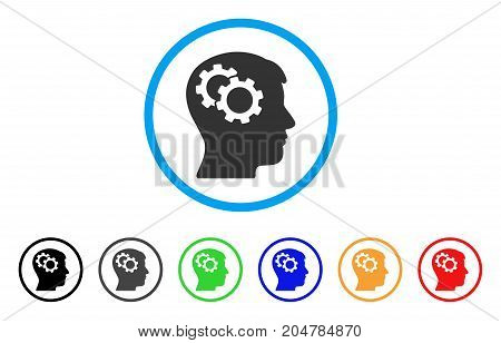 Intellect Gears rounded icon. Style is a flat intellect gears gray symbol inside light blue circle with black, gray, green, blue, red, orange variants. Vector designed for web and software interfaces.
