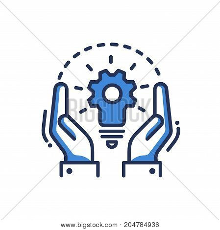 Concept - modern vector single line design icon. An image depicting two hands, a combination of gear and light bulb. Blue color, white background. Creative idea for a project