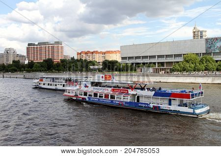Moscow Russia - July 20 2017: Two Pleasure boats sail along the Moskva River.