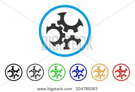 Mechanics Gears rounded icon. Style is a flat mechanics gears grey symbol inside light blue circle with black, gray, green, blue, red, orange versions. Vector designed for web and software interfaces.
