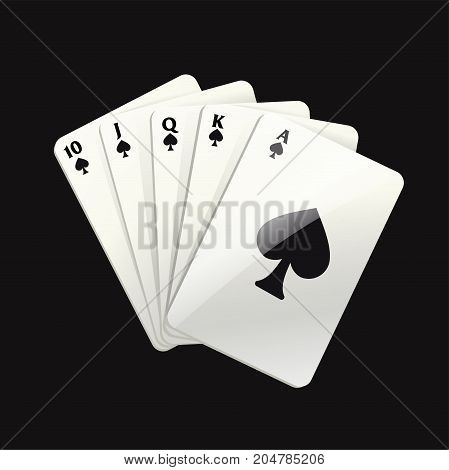 Game black cards - modern vector realistic isolated clip art illustration on black background. Royal straight flush of spades. Casino, gambling, luck, fortune concept