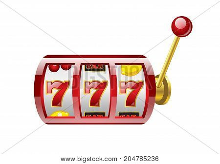 Red 777 slot - modern vector isolated illustration on white background. Casino, gambling, luck, fortune, big win concept. Use this high quality clip art for presentations, banners, flyers