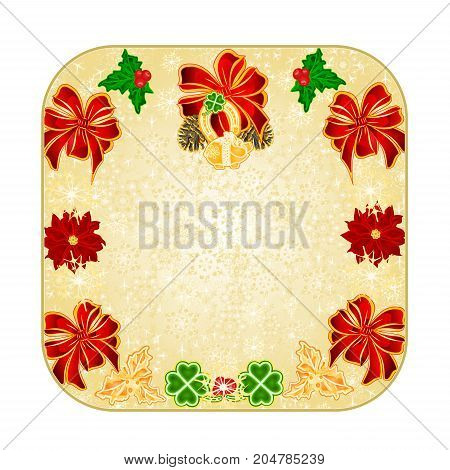Button square Christmas decoration snowflakes lucky symbols Four Leaf Clover horseshoe pig vintage vector illustration editable hand draw