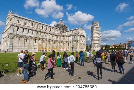 Miracoli Square with Pisa Cathedral and Leaning Tower - PISA TUSCANY ITALY - SEPTEMBER 13, 2017