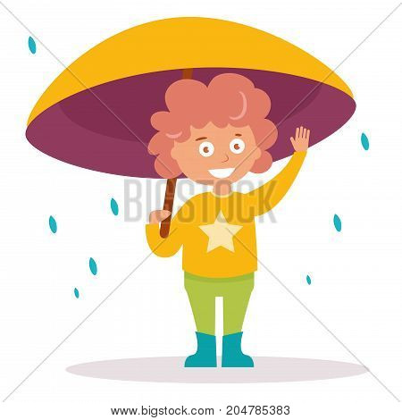 Boy stands under an umbrella.Vector. Cartoon. Isolated art on white background. Flat