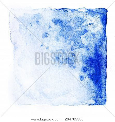 Abstract square watercolor fresh blue color tone hand paint isolated on white background for creative banner template design