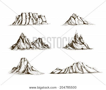 Collection of mountains hand drawn in vintage style. Set of beautiful retro drawings of different rock cliffs and peaks isolated on white background. Vector illustration