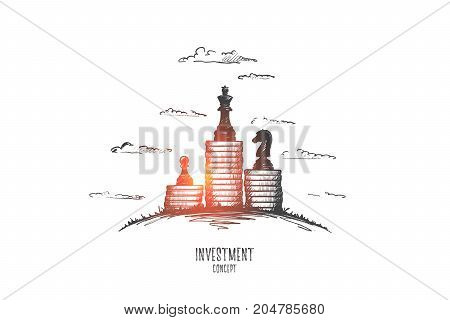Investment concept. Hand drawn piles of coins with chessmen on them. Invest money isolated vector illustration.