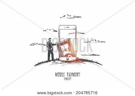Mobile payment concept. Hand drawn mobile phone with dollar. Man buying with smartphone isolated vector illustration.