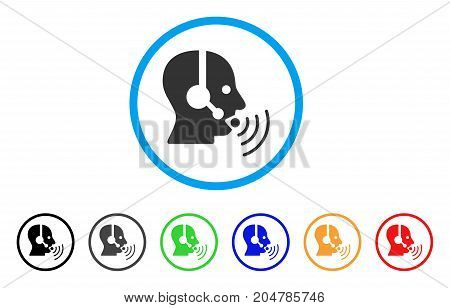 Operator Talking Sound Waves rounded icon. Style is a flat operator talking sound waves grey symbol inside light blue circle with black, gray, green, blue, red, orange versions.