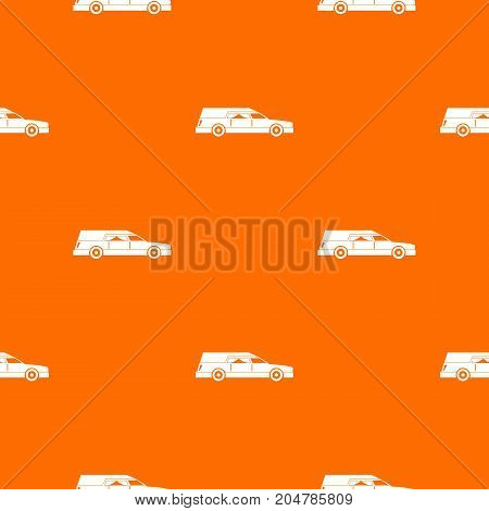 Hearse pattern repeat seamless in orange color for any design. Vector geometric illustration