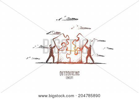 Outsourcing concept. Hand drawn people working at outsource. Persons working together collecting puzzle isolated vector illustration.