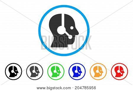 Operator rounded icon. Style is a flat operator grey symbol inside light blue circle with black, gray, green, blue, red, orange versions. Vector designed for web and software interfaces.