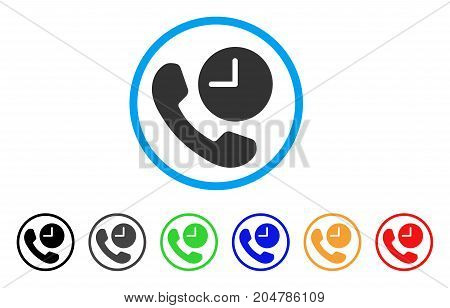 Phone Time rounded icon. Style is a flat phone time gray symbol inside light blue circle with black, gray, green, blue, red, orange color versions. Vector designed for web and software interfaces.