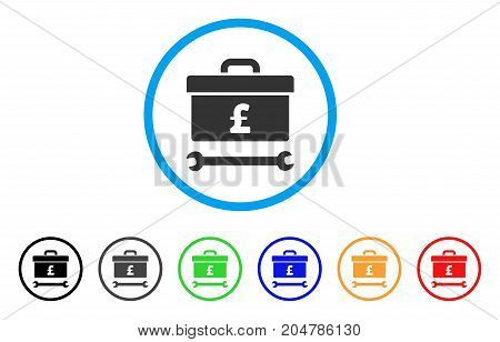 Pound Toolbox rounded icon. Style is a flat pound toolbox gray symbol inside light blue circle with black, gray, green, blue, red, orange color versions.