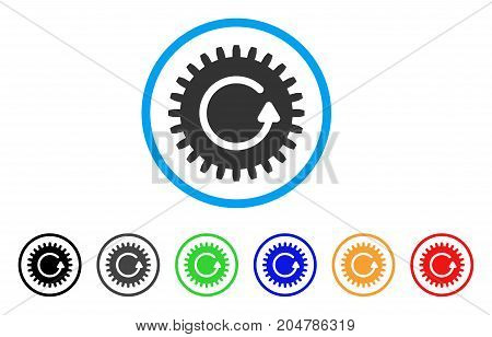 Rotate Cog rounded icon. Style is a flat rotate cog gray symbol inside light blue circle with black, gray, green, blue, red, orange variants. Vector designed for web and software interfaces.