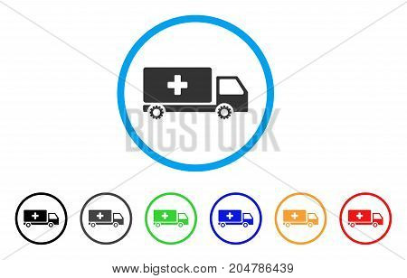 Service Car rounded icon. Style is a flat service car gray symbol inside light blue circle with black, gray, green, blue, red, orange color versions. Vector designed for web and software interfaces.