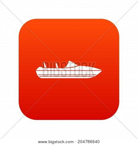 Little powerboat icon digital red for any design isolated on white vector illustration