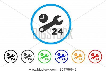 Service Hours rounded icon. Style is a flat service hours gray symbol inside light blue circle with black, gray, green, blue, red, orange versions. Vector designed for web and software interfaces.