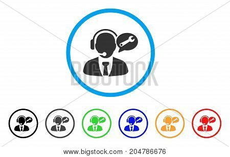 Service Manager Message rounded icon. Style is a flat service manager message gray symbol inside light blue circle with black, gray, green, blue, red, orange versions.