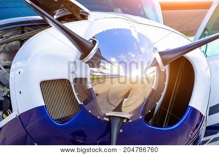 Turboprop Airplane Aircraft A Propeller Chrome Luster Close Up