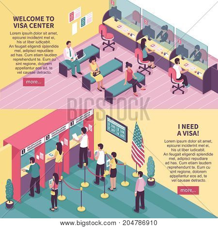 Visa center horizontal banners set with interview symbols isometric isolated vector illustration