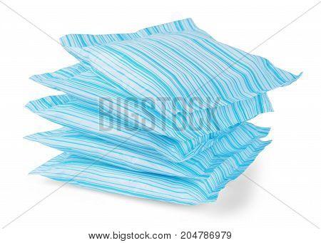 Sanitary napkins pad (sanitary towel sanitary pad menstrual pad) isolated on white background. Menstruation.