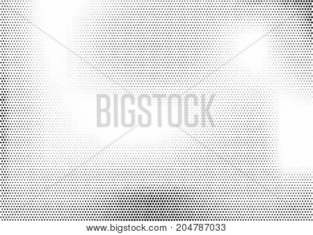 Modern horizontal halftone monochrome background with unevenly distributed dots of different size. Simple grunge gradient dotted texture. Abstract vector illustration in black and white colors
