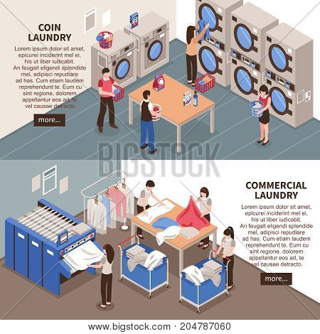 Laundry horizontal banners set with commercial laundry symbols isometric isolated vector illustration