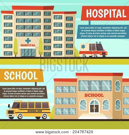 Two horizontal colored orthogonal municipal buildings banner set with hospital and school buildings vector illustration